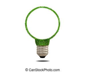 綠色的草, 光, bulb., 概念, ......的, 綠色, 能量