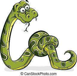 綠色的蛇, 卡通, 栓, 向上。