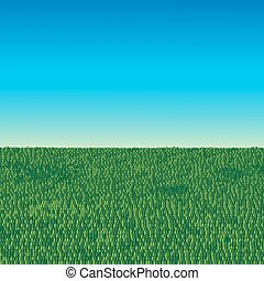 綠色的領域, 以及藍色, 天空, 背景
