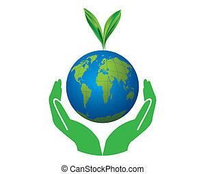 綠色, 世界, 概念, 矢量