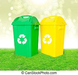 綠色, 以及, 黃色, 塑料, 垃圾, 回收容器, 由于, 再循環