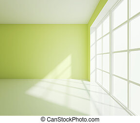 綠色, 大, 房間