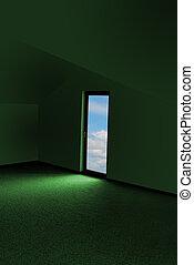 綠色, 房間, 以及, 門, 由于, 天空, 看法