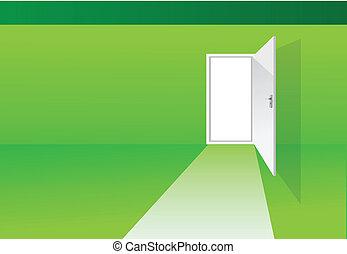 綠色, 房間, 由于, 門