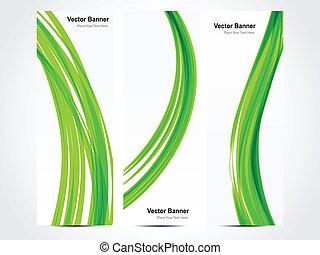 綠色, 摘要, 矢量, 旗幟, 波浪