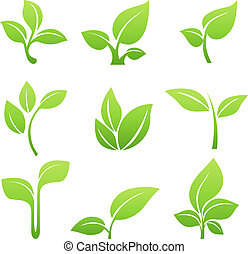 綠色, 新芽, 符號, 矢量, 圖象, 集合