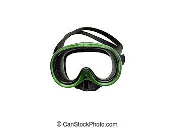 綠色, 潛水面具, 被隔离, 在懷特上