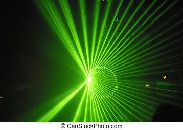 綠色, 激光束