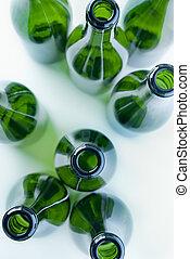綠色, 瓶子, ......的, 玻璃, 上面, 看法