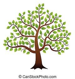 綠色, 矢量, 樹