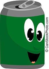 綠色, 矢量, 罐頭, 白色, 背景。, 插圖