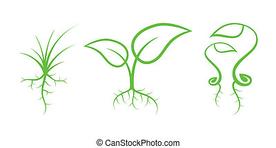 綠色, 自然, icons., 部份, 7, -, 新芽