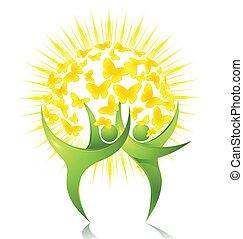 綠色, 舞蹈家, 由于, 太陽