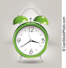 綠色, 警報, clock., 矢量