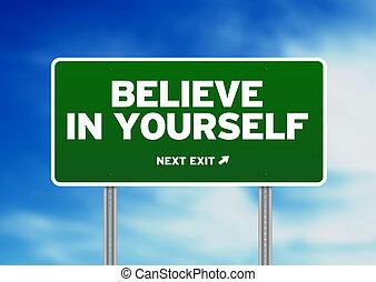 綠色, 路標, -, 相信, 在, yourself!