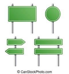 綠色, 路標, 集合, 在懷特上, 背景。, 矢量
