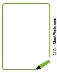 綠色, 輪廓色化妝品, 頁, 邊框