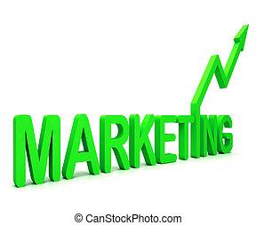 綠色, 銷售, 詞, 意味著, 促進, 銷售, 以及, 做廣告