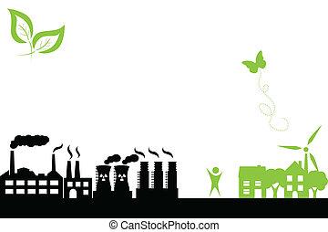 綠色, 鎮, 以及, 工業的建筑物