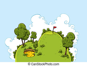 綠色, 高爾夫球, 小山