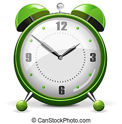 綠色, 鬧鐘, 矢量
