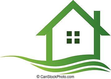 綠色, eco, 房子