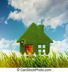 綠色, house., 環境, 背景, 為, 你, 設計