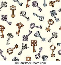 維多利亞式的風格, seamless, 鑰匙, 矢量, 符號, 彙整, 背景, pattern., 鑰匙, 安全
