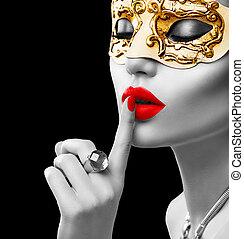 維尼斯人, 美麗, 化妝舞會, 狂歡節, 模型, 穿, 婦女, 面罩, 黨