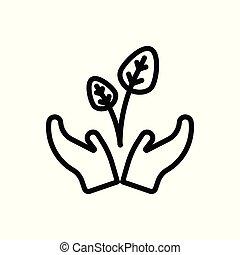 維持しなさい, 白, 隔離された, アウトライン, バックグラウンド。, icon., illustration., ベクトル