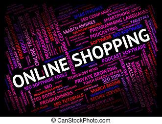 網のショッピング, 商業, オンラインで, 世界, ショー, 広く