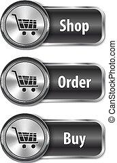 網のショッピング, elements/buttons, 金属, グロッシー, オンラインで