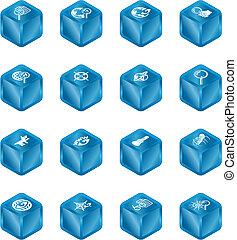 網の調査, 立方体, シリーズ, セット, アイコン