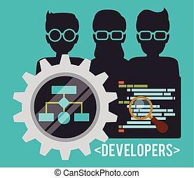 網の開発者, design.