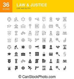 網アイコン, 正義, 線, 法律, glyph