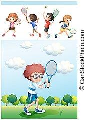 網球, 公園, 玩, 孩子