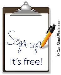 網站, 向上, 自由, 簽署, 鋼筆, 剪貼板, 圖象