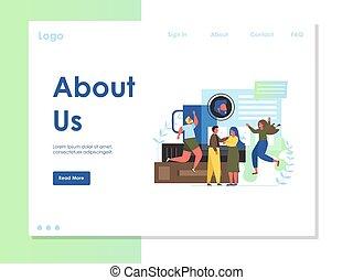 網站, 大約, 我們, 矢量, 設計, 著陸, 樣板, 頁