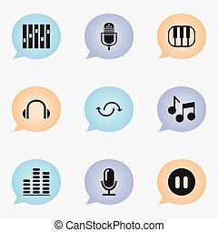 網, ありなさい, セット, モビール, icons., 媒体, ヘッドホン, editable, オーディオ, 使われた, 含む, シンボル, 缶, infographic, ui, インタビュー, 9, そのような物, more., マイクロフォン, design.