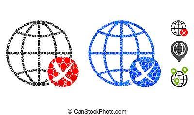 網, アイコン, 円, 止まれ, 世界的である, 構成