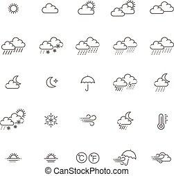 網, アウトライン, アイコン, セット, -, コレクション, 予報, 天候, ベクトル, 薄いライン, アイコン