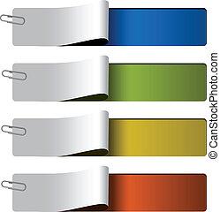 網, オプション, -, ベクトル, 4, テンプレート, ステップ, 旗