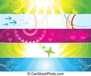 網, カラフルである, 旗, 抽象的