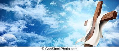 網, キリスト教徒, banner., 木製である, concept., 空, 交差点, イラスト, clouds., crucifixion., 背景, 復活, イースター, ∥あるいは∥, 3d