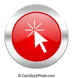 網, クリック, クロム, 隔離された, アイコン, 円, 赤, ここに