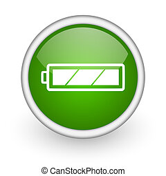 網, グロッシー, 背景, アイコン, 電池, 円, 緑の白