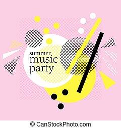 網, コンサート, 概念, illustration., 夏, ポスター, 抽象的, 現代, 招待, ベクトル, デザイン, パーティー, テンプレート, 印刷, パーティー, カード
