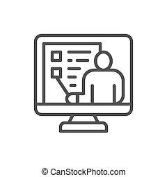 網, サポート, 線, 教育, ビデオ, オンラインの会議, icon., webinar