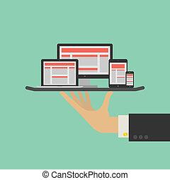 網 サービス, concept., ベクトル, デザイン, 敏感