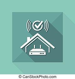 網, -, システム, ベクトル, 家, wi - fi, 点検, アイコン
